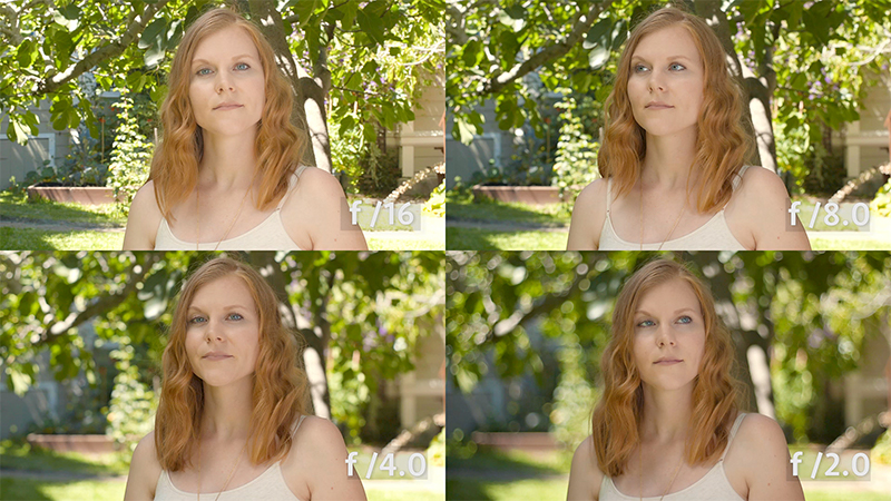 The same aperture test created outside where we can get a deeper background. You can really see how isolated from the background our actress at f /2.0.  Canon C100 mkII with 50mm lens.