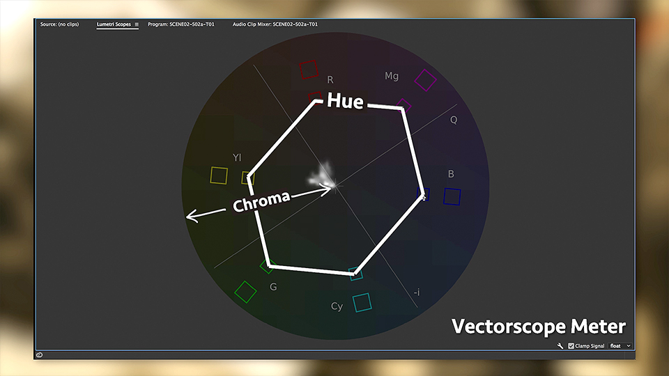 The center of the vectorscope represents white, black and all the shades of gray, while the 360-degree area around it, all the colors of the rainbow.