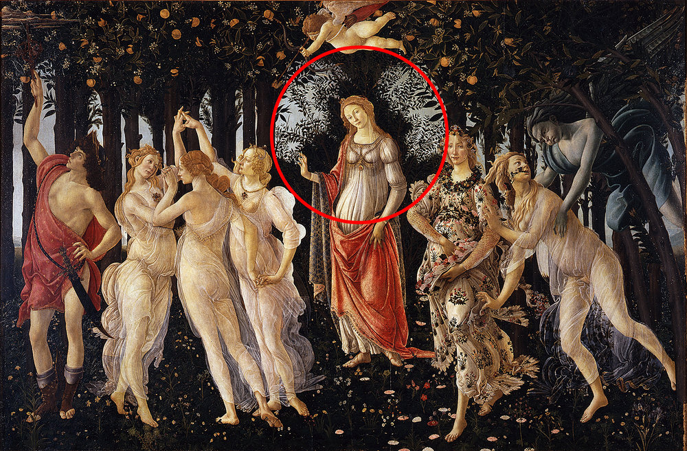 The background creates a circle to draw the viewers focus. Primavera by Sandro Botticelli.