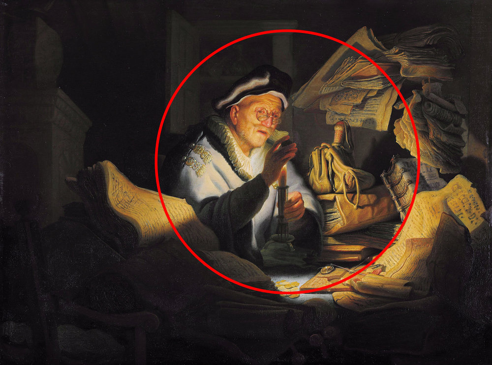 The books and piles create a circle like focus on the subject. The Parable of the Rich Fool by Rembrandt.