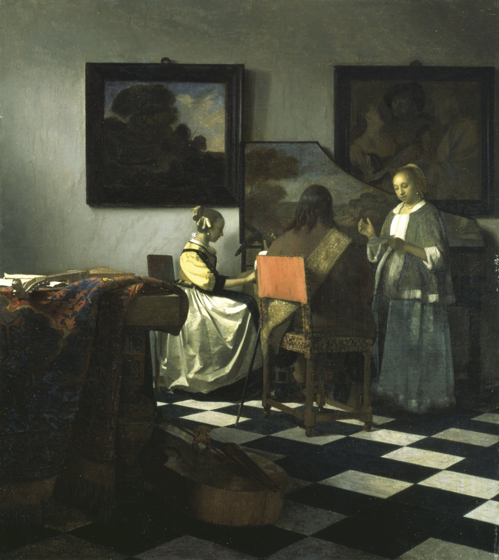 Example of symmetrical balance used between the paintings on the wall to create calm feeling. The Concert by Vermeer.