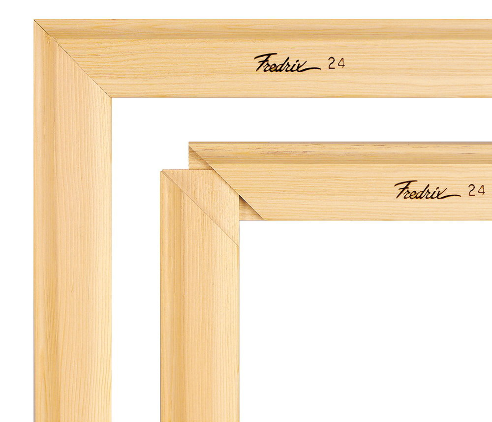 Canvas stretch frames with tongue and grove corners for easily assembly.
