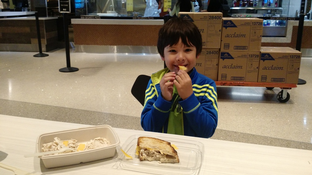 Walter and his turkey sandwich in LAX