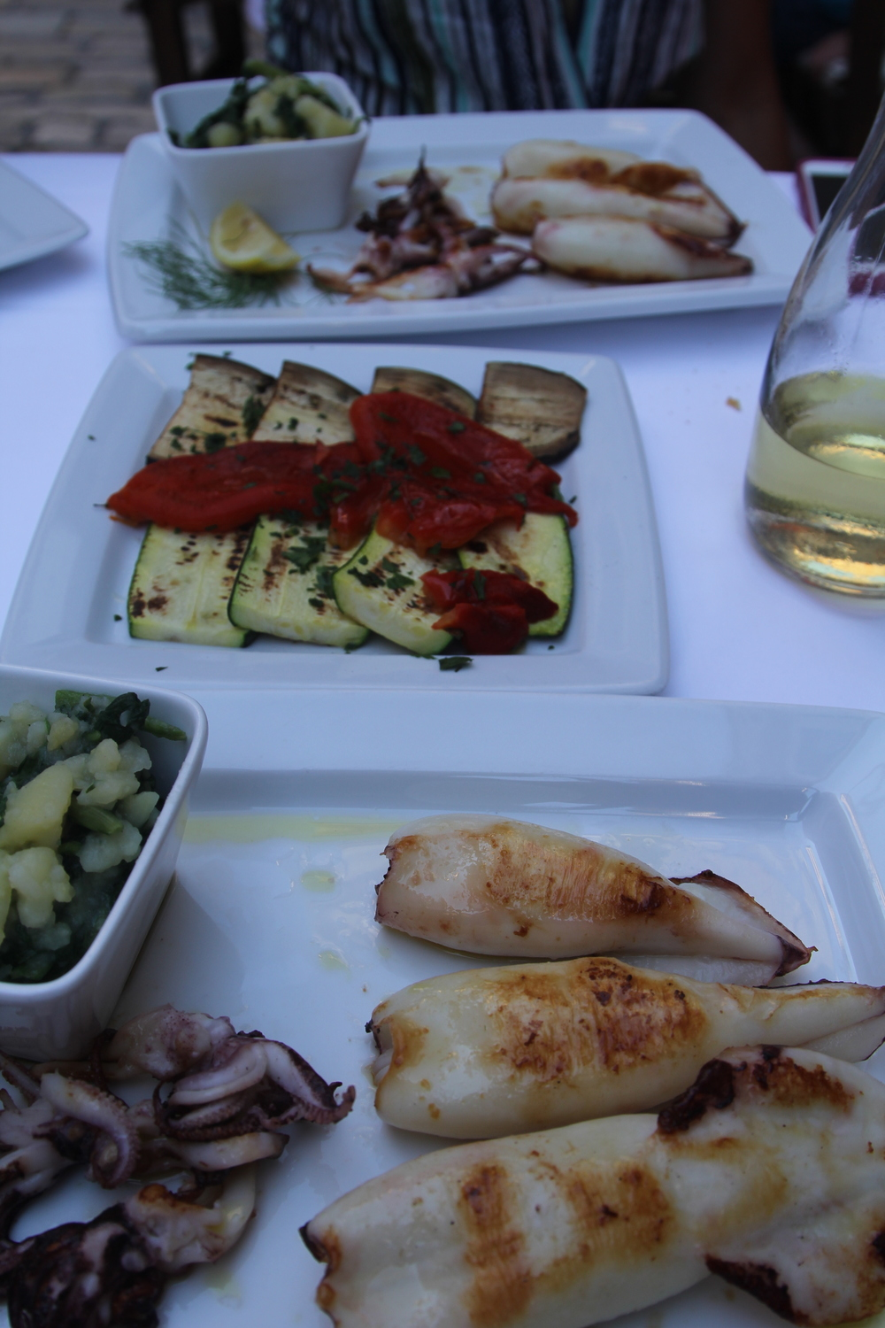 Squid and grilled veggies, the first in a recurring theme...