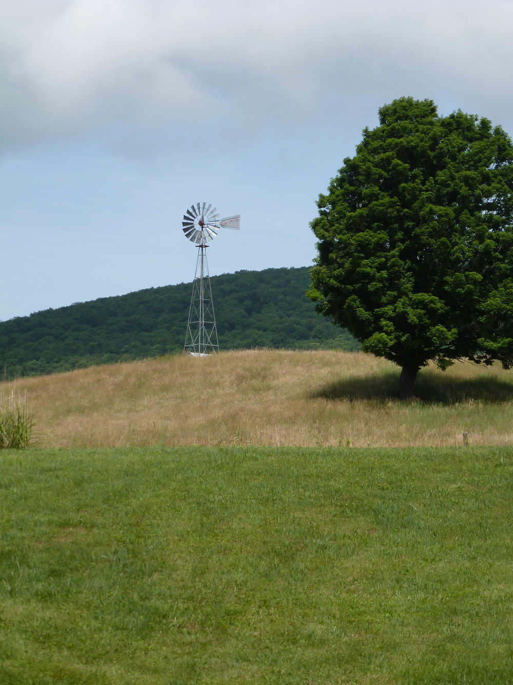 Aeromotor windmill above the farmhouse at the top of the hill