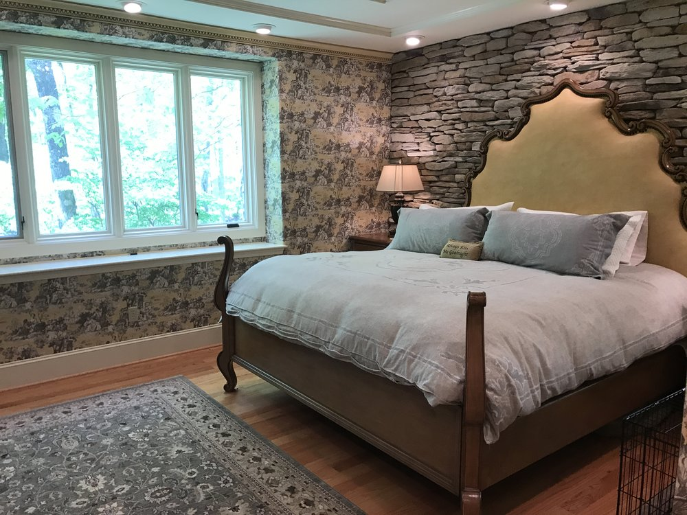 First Floor Master with Stacked Stone Walls