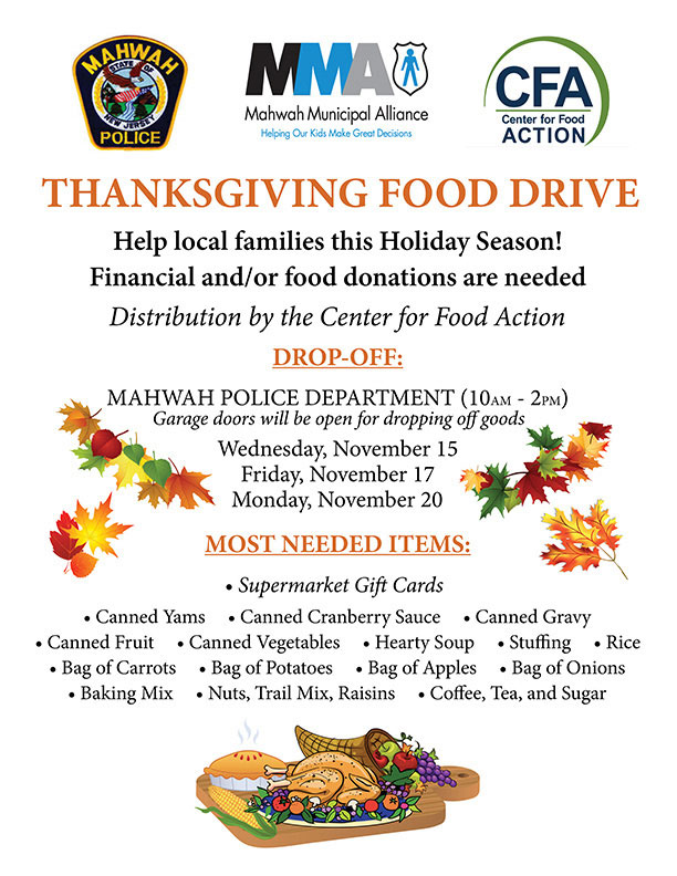 The Mma Thanksgiving Food Drive Wednesday Mahwah Municipal Alliance