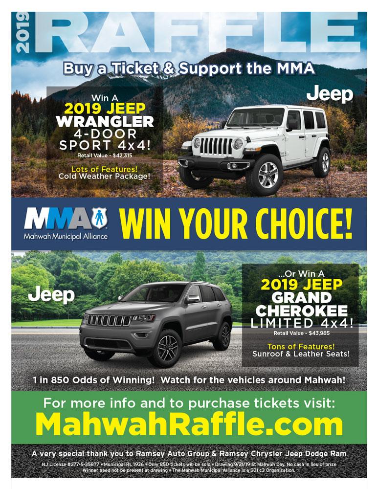 2019 MMA Fundraiser Jeep Raffle Ticket — Mahwah Municipal Alliance