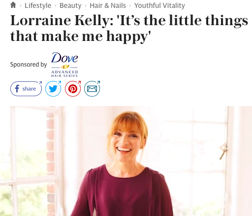 Telegraph Spark Dove Lorraine Kelly interview