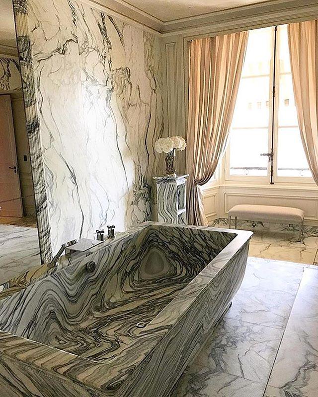Hotel ensuite crush of the week... Hotel De Crillon - Paris  Nature is really the best artist #elevator #Knightsbridge #Kensington #pinkonyx #whiteonyx #onyx #marble #stone #construction #build #stonemason #bathroom #instahome #instadecor #Design #home #luxury #luxuryhome #realestate #london #harrods #luxurybathrooms #mayfair #development #renovation #homedesign #architecture #luxurybathroom #luxurybath