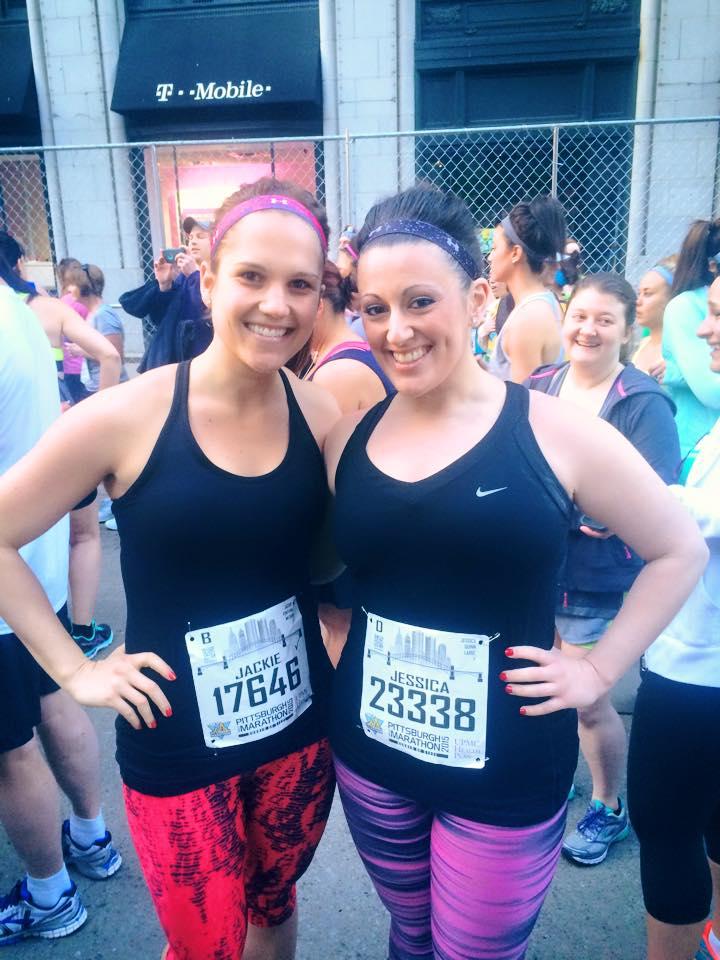 Jackie McCarthy (L), Jessica Quinn (R) at the Pittsburgh Marathon
