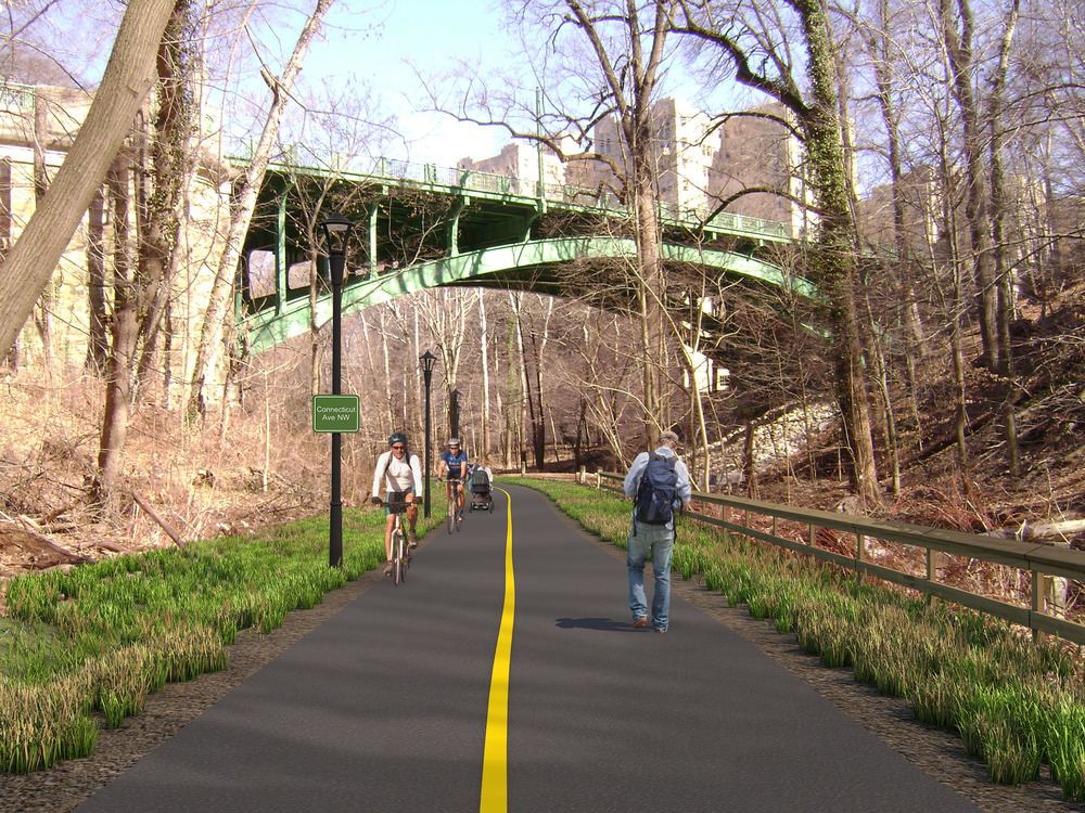 Rendering of the proposed trail looking east towards Connecticut Avenue.