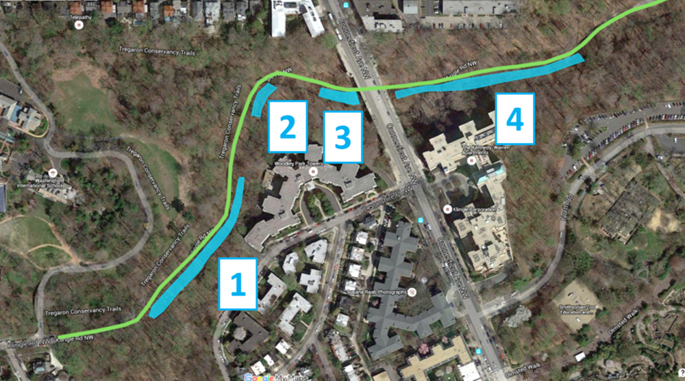 Stream restoration work for the past two weeks focused on Segment 4, east of Connecticut Ave.