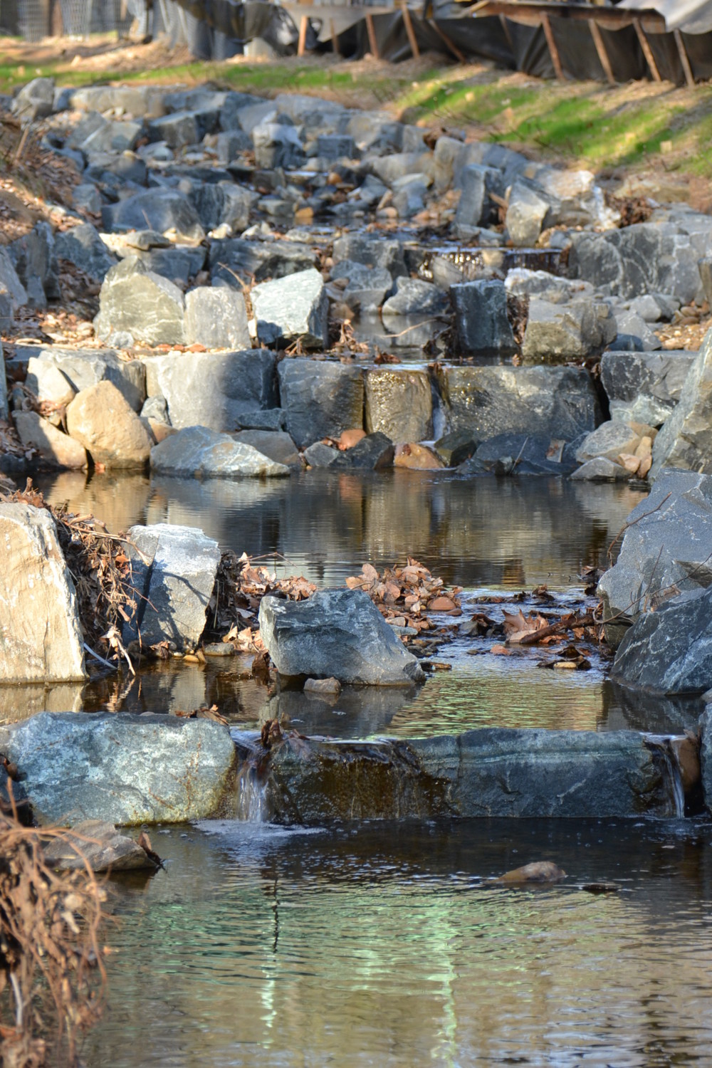Water flow velocity is greatly reduced in the new step pools, which will reduce erosion