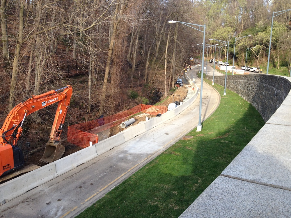 Connector trail construction along the ramp to Beach Drive (looking west)