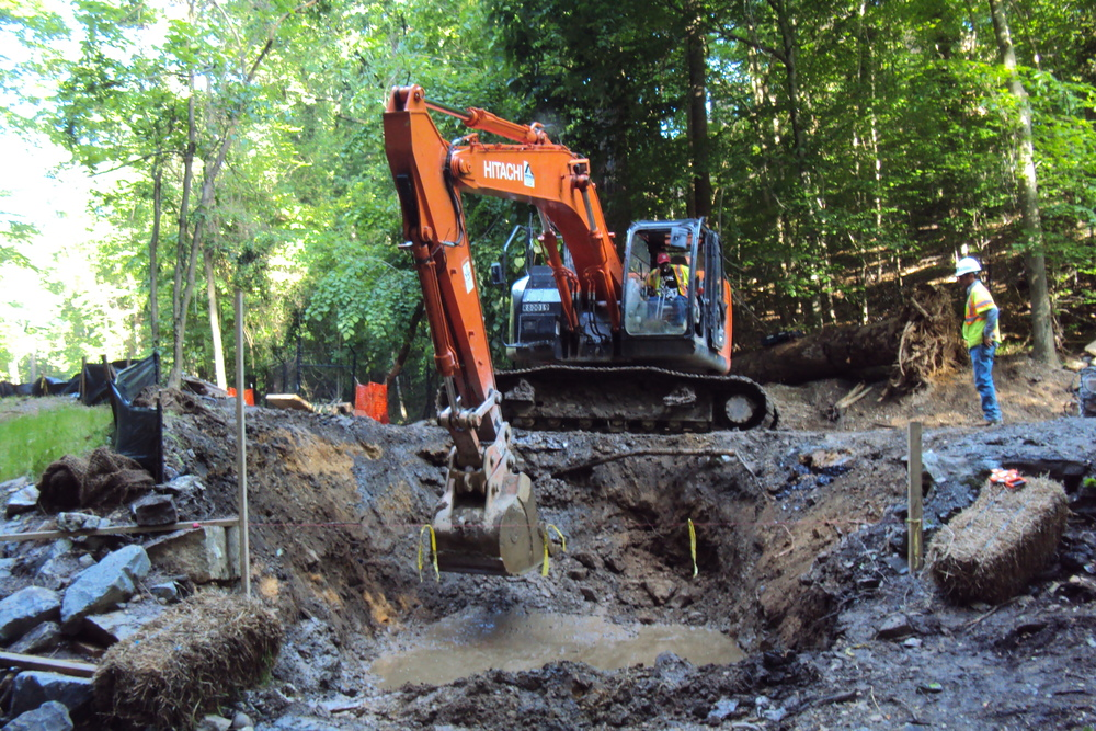Excavating the new culvert trench