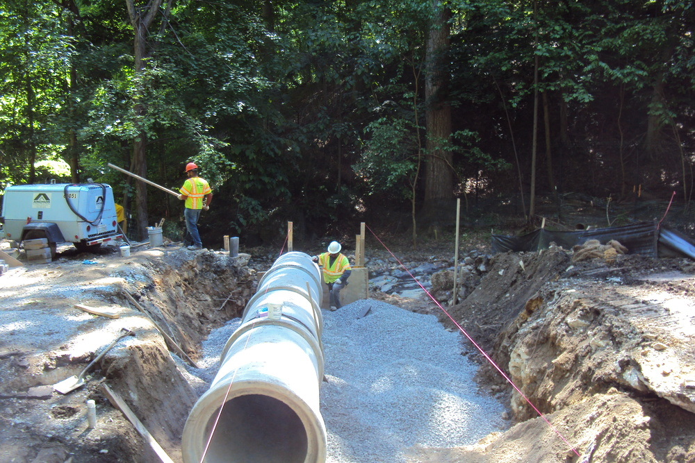 Installing new concrete pipe