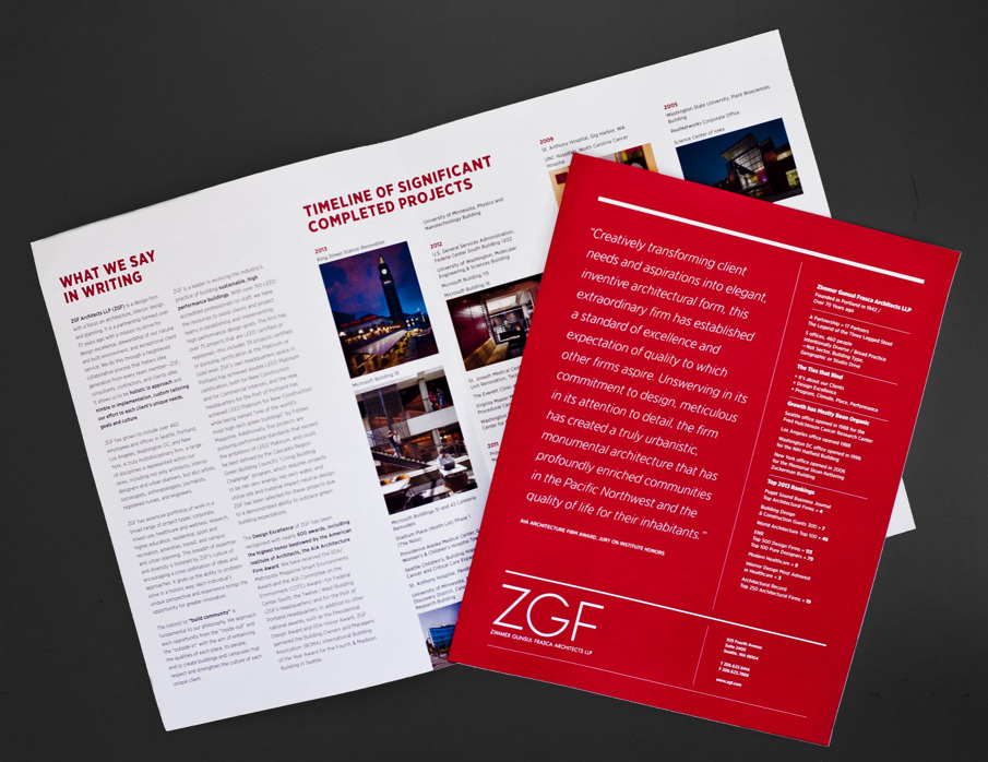 Designed the layout, organization, look and feel of multiple collateral pieces for ZGF Architects.
