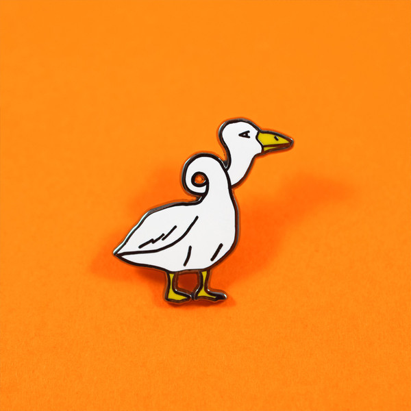 illustration and concept of Silly Goose enamel pin for Valley Cruise Press