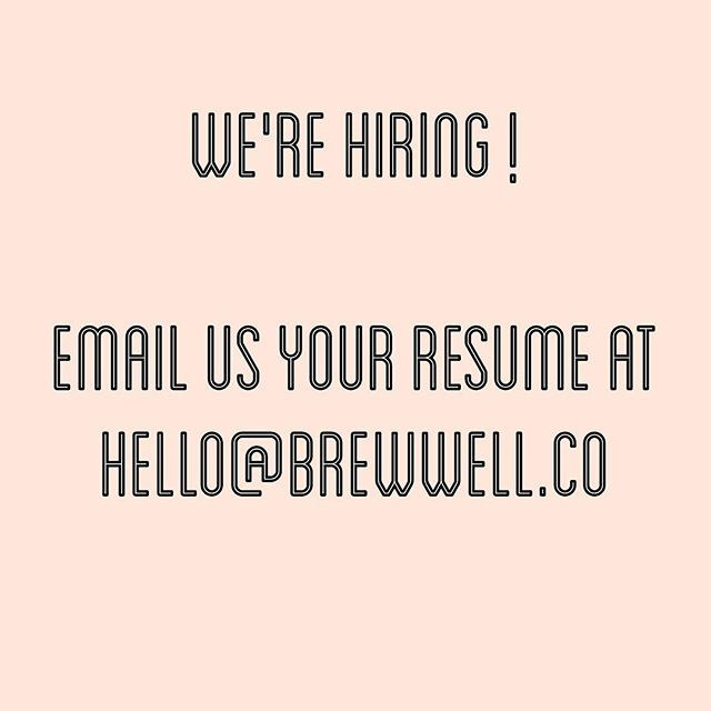 We're hiring! If you would love to be a part of our team, email us your resume. We would love to hear from you! ☺️