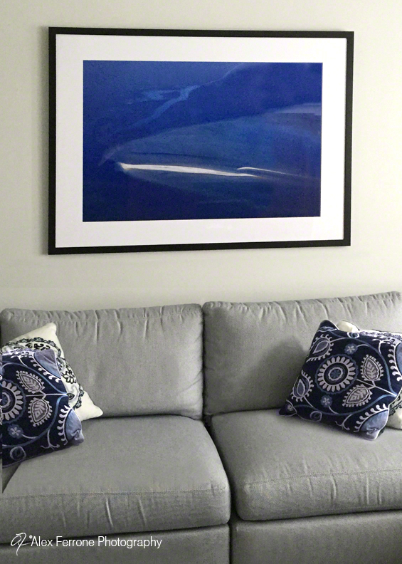 """All Blues"" in Nassau Point, NY home - living room."