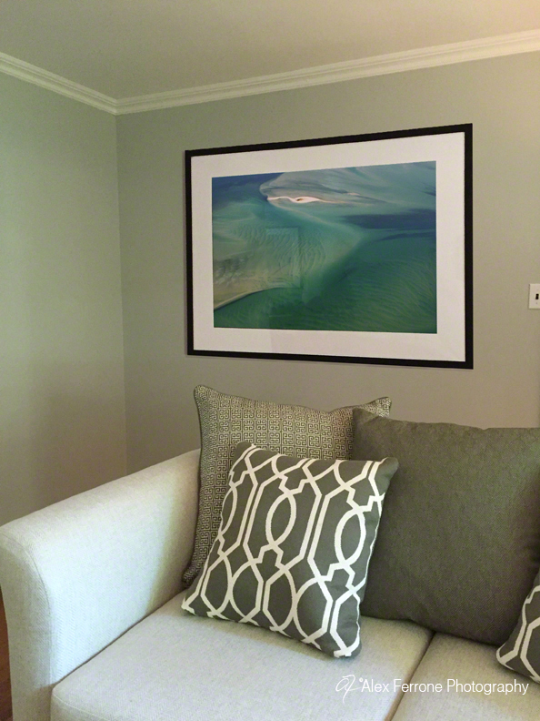 """Hamptons Blues and Greens"" in private home, Bayville, NY home - living room."