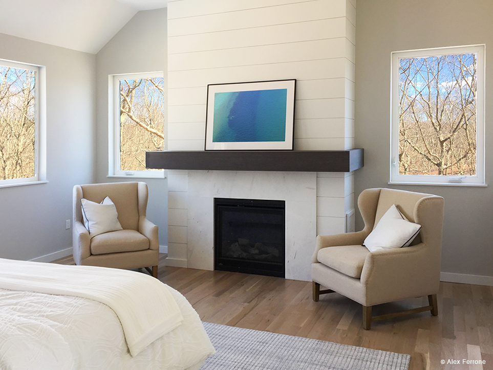 """Distant Buoy"" in Southampton, NY home - master bedroom."