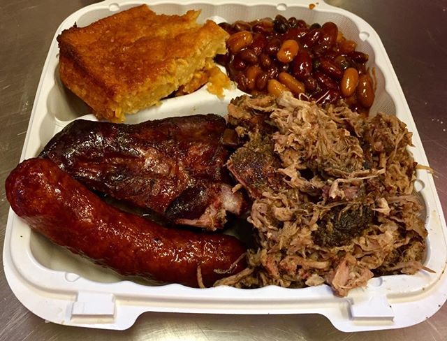 Individual three meat combo platter @smokedtogo. Your meal, your way. #foodchoices #ribs #bbq #cornpudding #smokedpulledpork #smokedbakedbeans