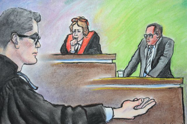 Don Martin cross-examined at trial by Michael Bates, counsel for Arthur Kent, on December 7, 2015. Drawing by Sharon Graham Sargent.