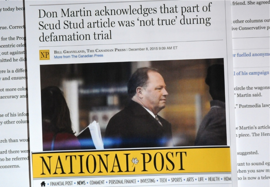 The defendants' National Post reports the trial admission by its former employee and co-defendant, Don Martin, that the headline paragraph of his 2008 article attacking Arthur Kent is untrue.  The Martin Article was ruled defamatory in the June 8, 2016 Trial Judgment in Kent v. Postmedia and Kent v. Martin, Canwest et al in the Court of Queen's Bench in Calgary, Canada.