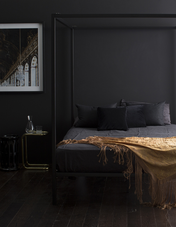 A dark, inky bedroom by  Megan Morton .