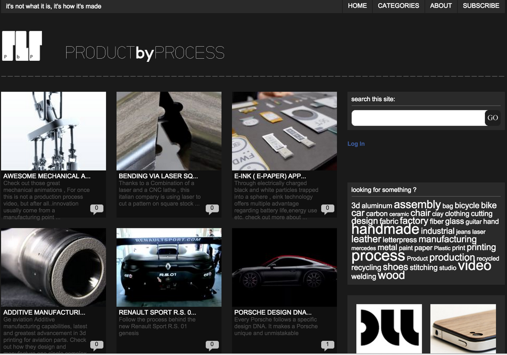 Product by process is an online compilation of processes , material and interesting stories about products. Product by process is an attempt to go  beyond the polished products and objects that surround us and take a look at how they are manufactured and recycled. Productbyprocess.com, publications and interesting articles about process .