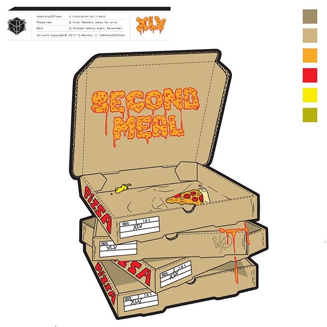 PIZZA PIZZA!!! T-shirt Design for @xlvfilms #tjmallorydotcom #production #productionassistant #tshirtdesign #pizza #illustration #vector #designer