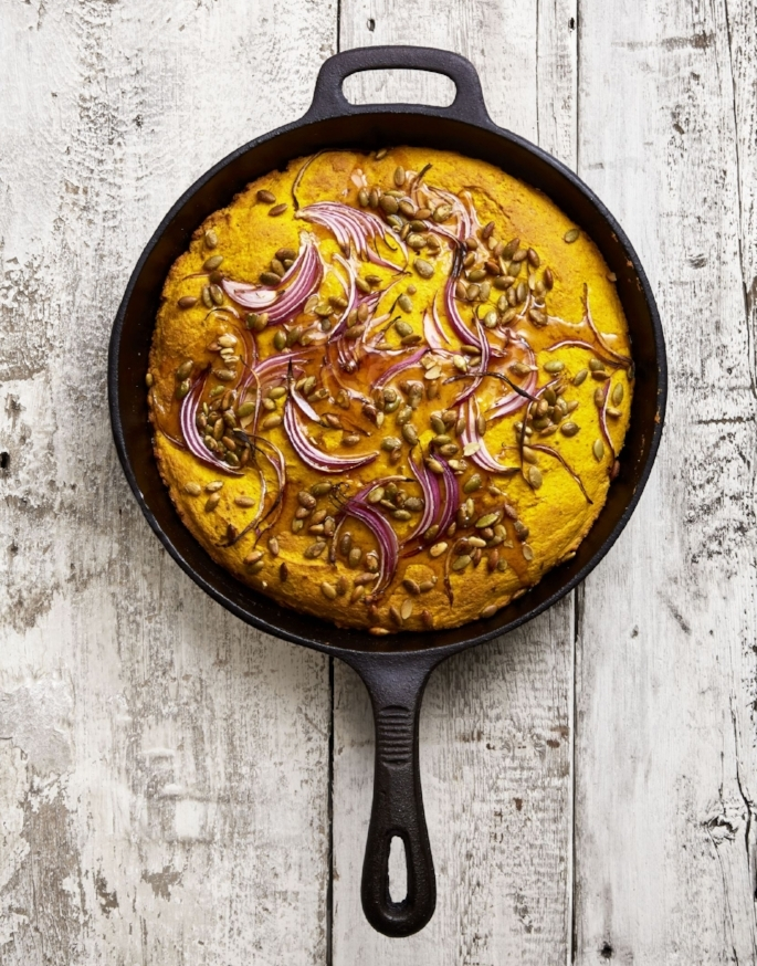 Recipe:  https://www.goodhousekeeping.com/food-recipes/a46041/double-pumpkin-cornbread-with-red-onion-recipe/