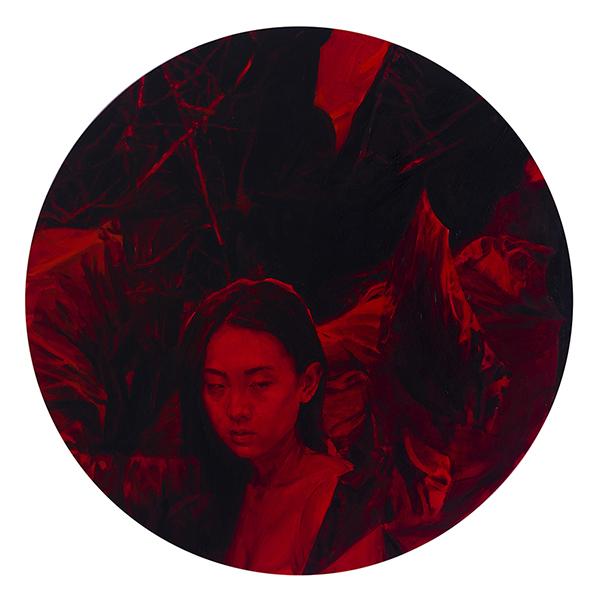 'Untitled #2' 60 x 60 cm, oil and aerosol on board, 2017