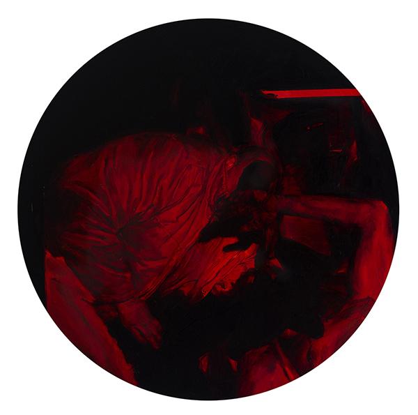 'Untitled #3' 60 x 60 cm, oil and aerosol on board, 2017