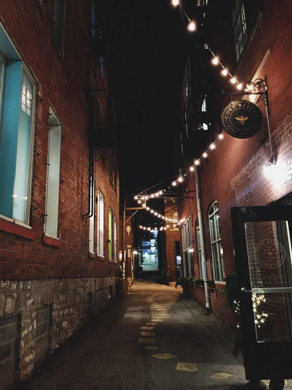 Ended the night at The Bauer! The alley is lit up and magical as always.