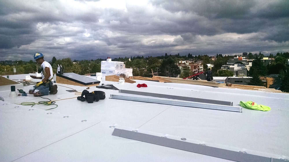 In Process Of Installing GAF TPO Roofing System