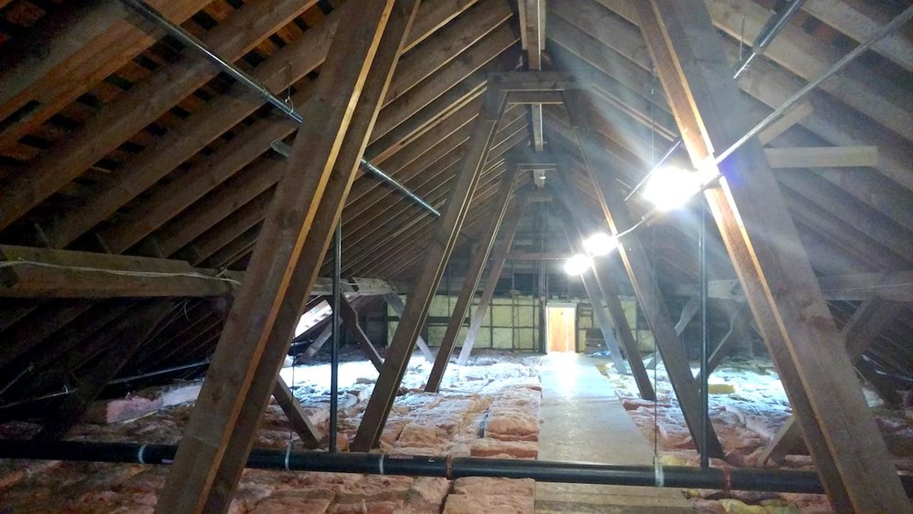 During the inspection of the attic of the Des Moines Field House Parks and Recreation Office