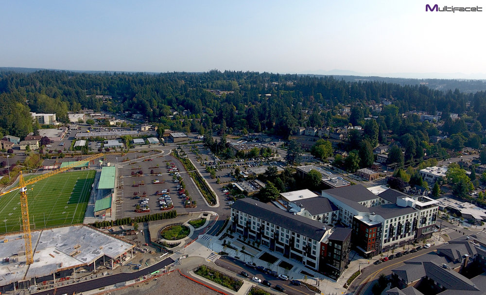Aerial shot of the city of Bothell, Washington.