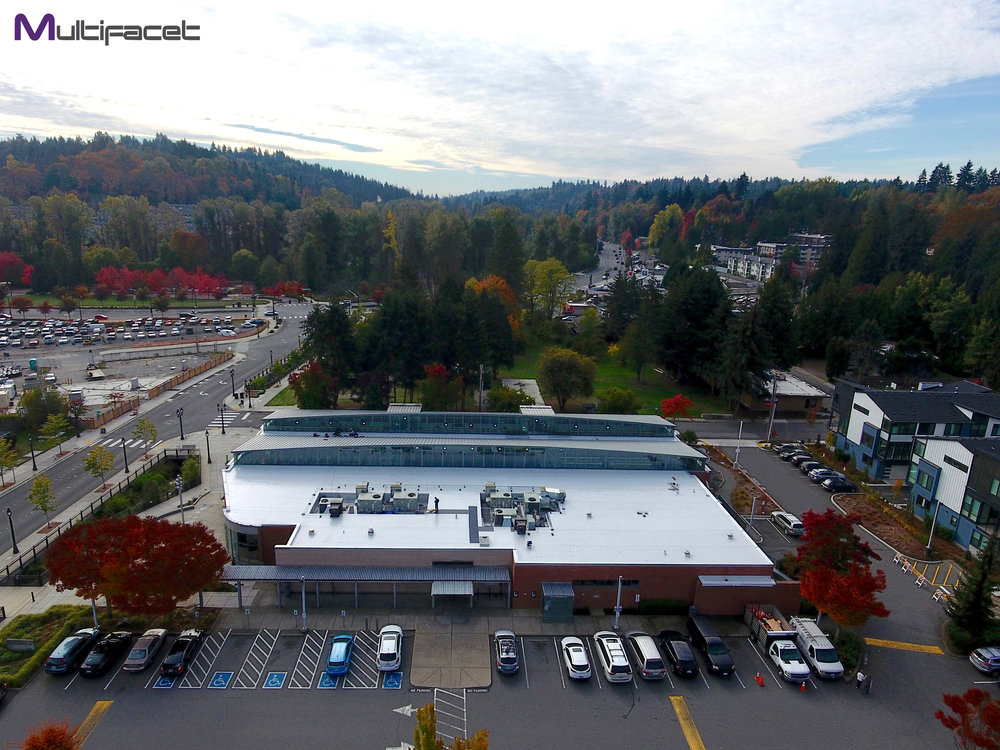 Completed Commercial Flat Roofing Project at the Bothell Library in Bothell, Washington.