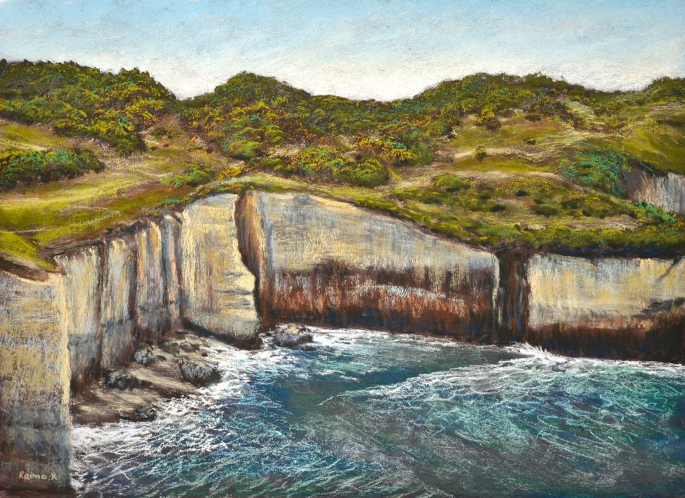 """Tunnel Beach"" Framed pastel on board. $NZ 775.- sizes 600mm x 800mm"