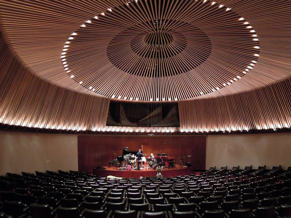 Dal Niente rehearses in the grand Sala de Conciertos Luis Angel Arango in Bogota, Columbia.