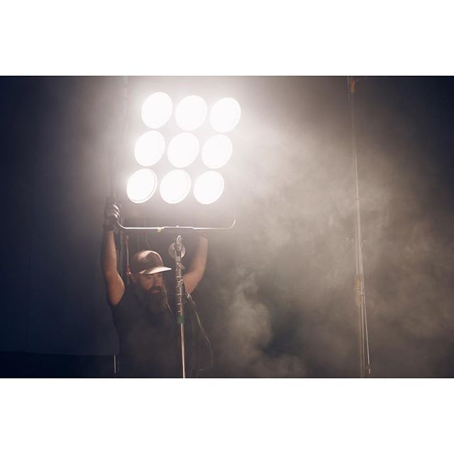 My man James @elledge aiming a 9-light par for me.. Such a beautiful light.. #bts #production #photoshoot