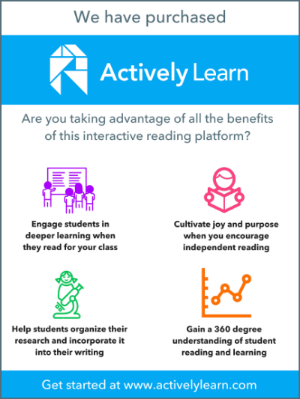 Example of a poster to spread the word about Actively Learn to your teachers