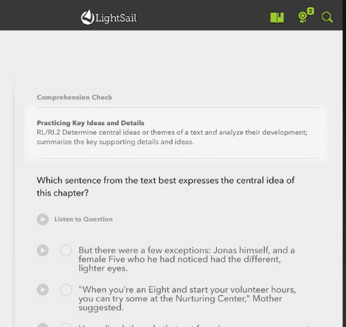 An example of a comprehension question in LightSail.