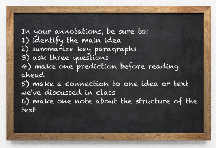 Teachers need to give students specific guidance on how to annotate.