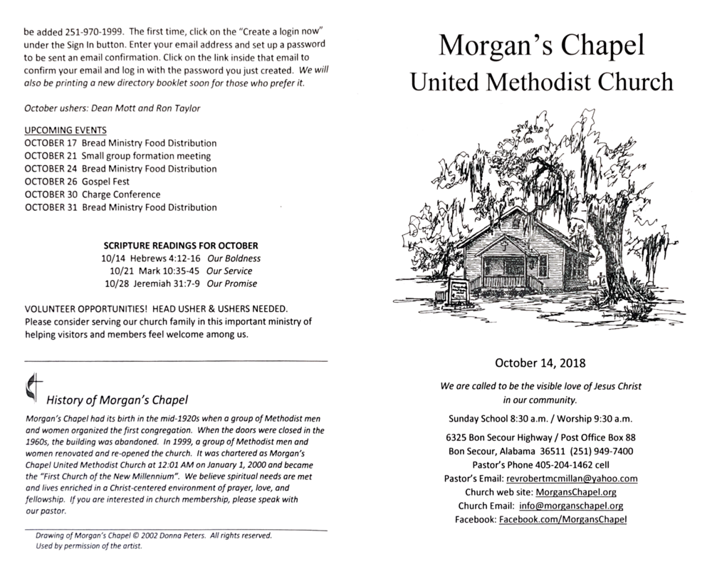 10/14/2018 — Morgan's Chapel United Methodist Church