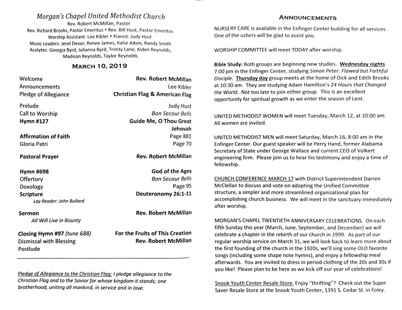 March 10 2019 — Morgan's Chapel United Methodist Church
