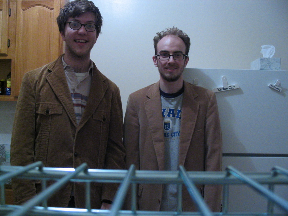 The Corduroy Twins after surviving a nonstop drive from Omaha to NYC.